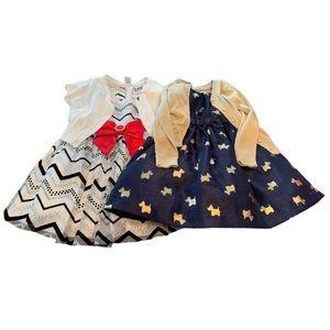 Bundle of 2 Christmas dresses w/ cardigans 18-24m